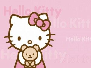 Postal: Hello Kitty con un osito