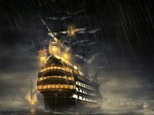 Postal: Noche de tormenta en el mar
