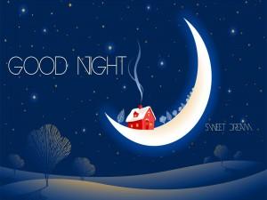 """Casita roja sobre la luna """"Buenas noches y Dulces sueños"""""""