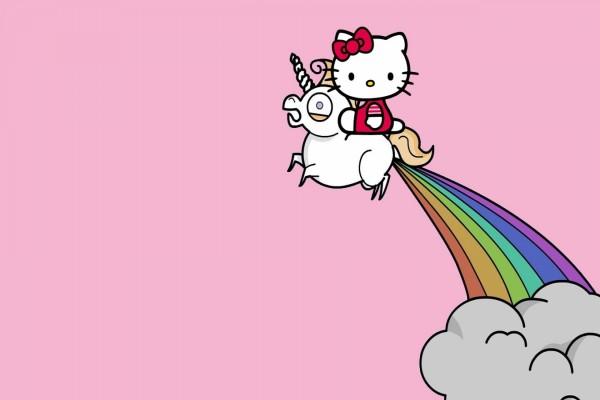 Hello Kitty viajando sobre un unicornio
