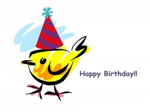 Postal: ¡Feliz Cumpleaños! con un pajarito