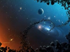 Galaxias y planetas en el espacio
