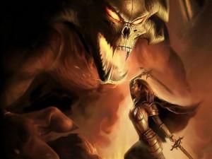 Postal: Guerrera luchando contra un gran demonio