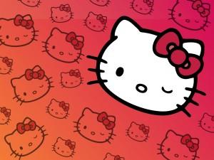 Postal: La cara de Hello Kitty guiñando un ojo