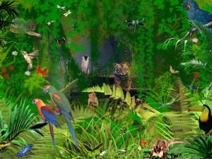 Postal: Colorida imagen que representa la jungla