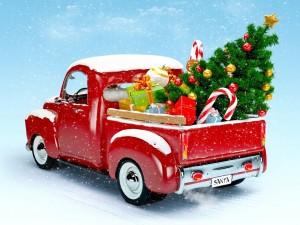 Camión de Santa con regalos y árbol para Navidad