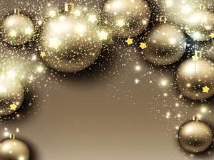 Navidad con bolas y estrellas doradas