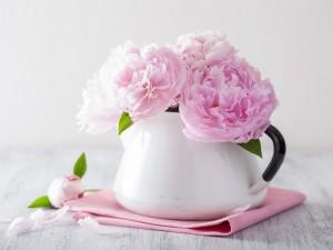 Postal: Peonias rosadas en un recipiente