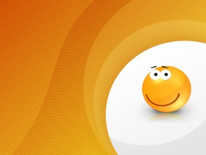 Postal: Cara naranja sonriente