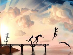 Postal: Niños saltando al agua