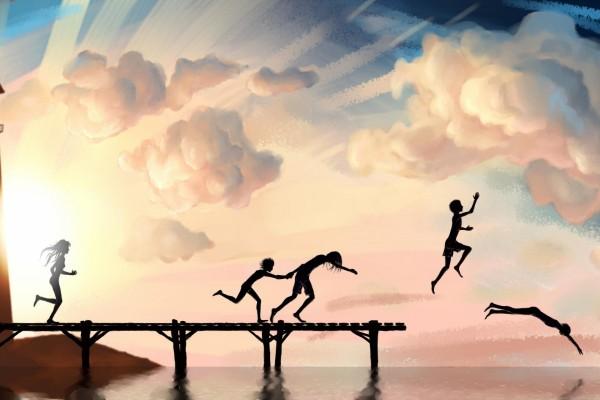 Niños saltando al agua