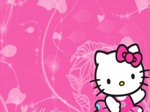Hellow Kitty en un fondo rosa