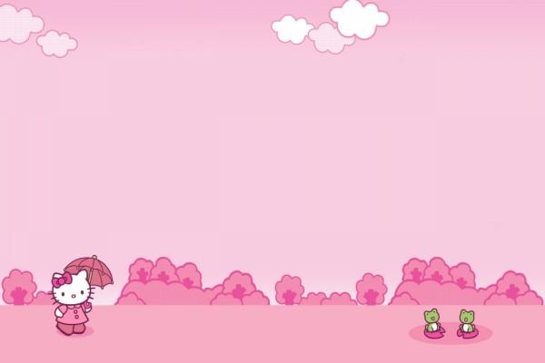 Hello Kitty paseando hacia unas ranitas verdes