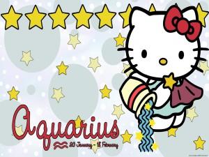 Postal: Hello Kitty con el signo del zodiaco acuario
