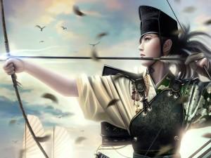 Postal: Mujer oriental disparando una flecha