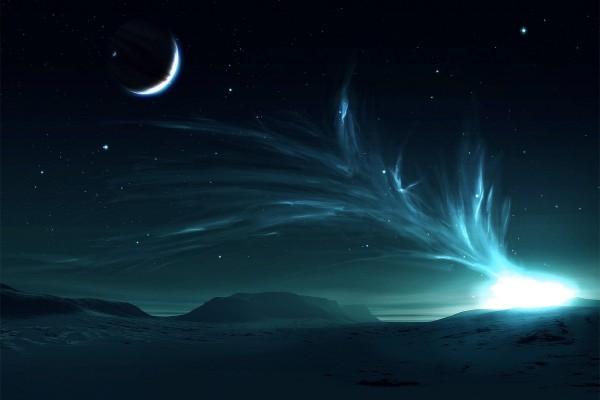 Luces en el cielo alcanzando a la luna
