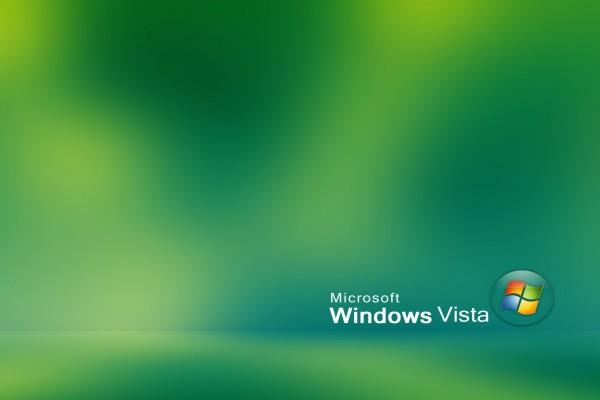 Microsoft Windows Vista en fondo verdoso
