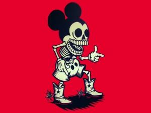 Postal: El esqueleto de Mickey Mouse