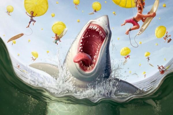 Tiburón intentando comer surfistas que caen del cielo