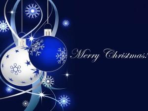 Postal: ¡Feliz Navidad! en un fondo azul con adornos