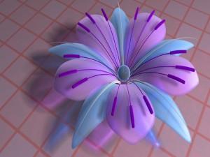 Flor digital con pétalos color azul y púrpura