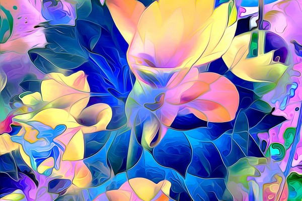 Dibujos abstracto con pétalos de flores de varios colores