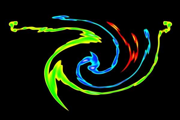 Líneas curvas de colores en fondo negro