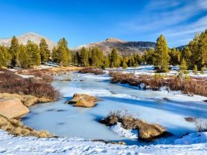 Postal: Río congelado entre rocas y árboles