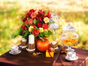 Una agradable decoración para tomar el té en otoño