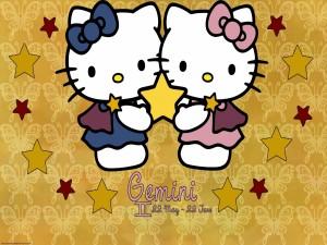 Hello Kitty con el signo del zodiaco Géminis