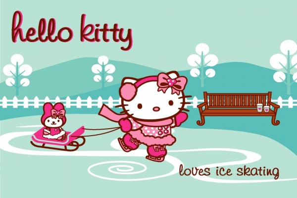 Hello Kitty patinando sobre hielo