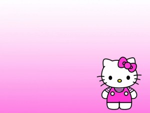 Hello Kitty en fondo rosa