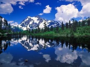 Un bonito lago próximo a las montañas