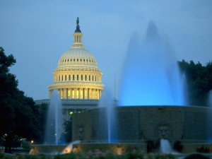 Postal: Fuente junto al Capitolio de los Estados Unidos