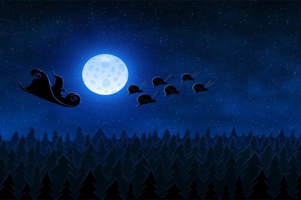 Caracoles tirando del trineo de Santa Claus