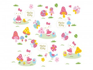 Hello Kitty en el campo con pájaros piando