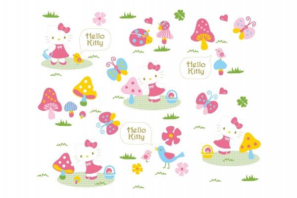 Hello Kitty en el campo con pájaros piando
