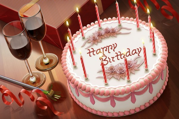 """Una torta de cumpleaños """"Happy Birthday"""""""