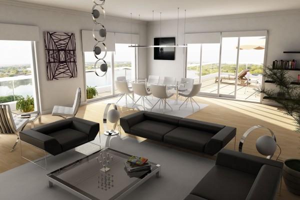 Un elegante salón en una casa de campo moderna