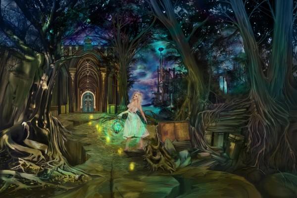 Muchacha en el bosque caminando hacia la puerta del castillo