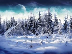 Planeta visto desde la fría nieve