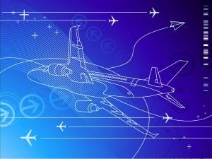 Postal: Aviones en un fondo azul