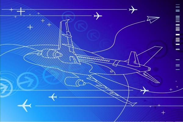 Aviones en un fondo azul