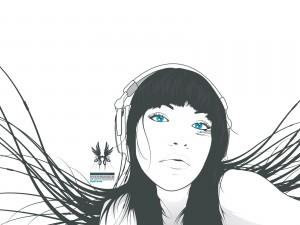 Chica de ojos azules escuchando música