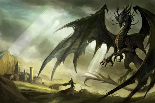 Hombre frente a un gran dragón