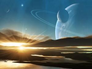 Postal: El sol brillando en un planeta desde el que se divisan otros planetas y lunas