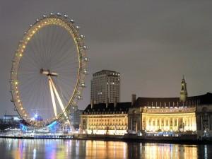 Postal: Noria de Londres junto al Támesis