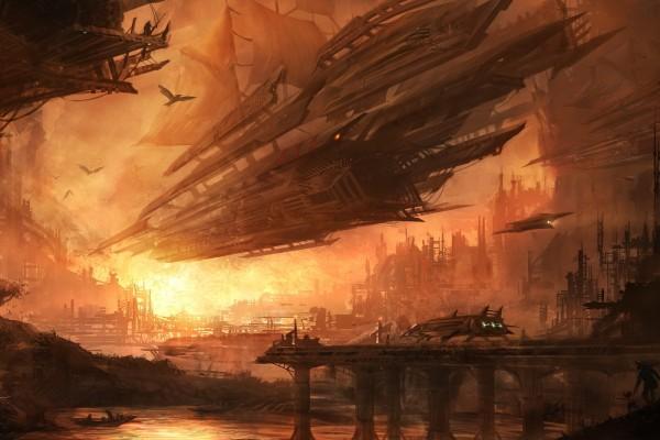Gran nave espacial con velas de barco