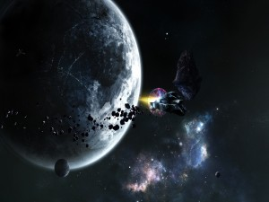 Nave chocando contra un meteorito