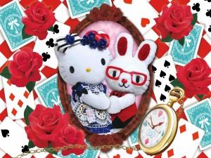 Postal: Hello Kitty con su amiga conejita